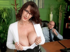 Fucking the giant titted M.I.L.F. who's wearing glasses